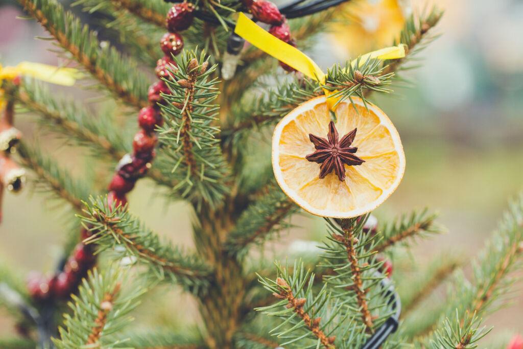 DIY handmade decoration on a Christmas tree